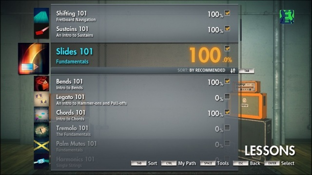 Lesson Screen for Rocksmith 2014