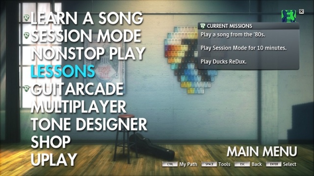 Missions will serve as your guide for all of Rocksmith's features and learning path.