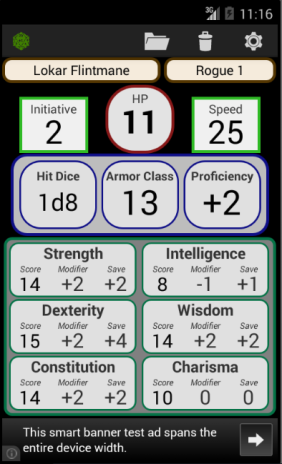5th Edition Character Sheet mobile app